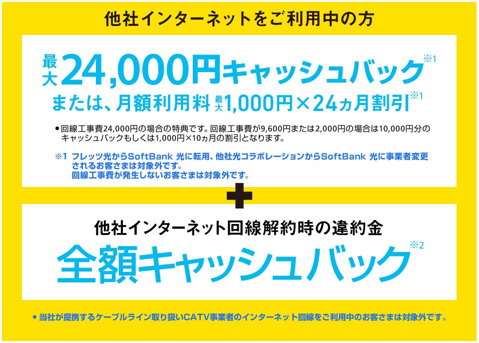 SoftBank 光 乗り換え新規でキャッシュバック/割引きキャンペーン